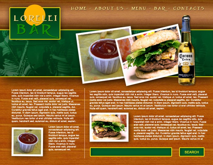 Design a Full Template for Bar Restorant Website Layout - Photoshop Tutorials Lorelei Web Design