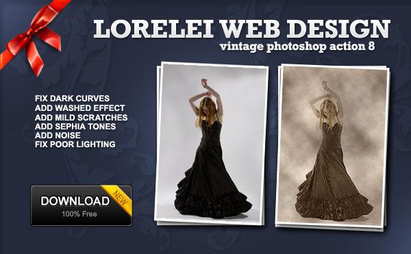 Free Photoshop Action - Vintage Photo Effect with Correction - Freebies Lorelei Web Design