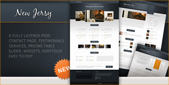 New Premium Download: New Jersey Full Template 6 PSD Files - Premium Downloads Lorelei Web Design
