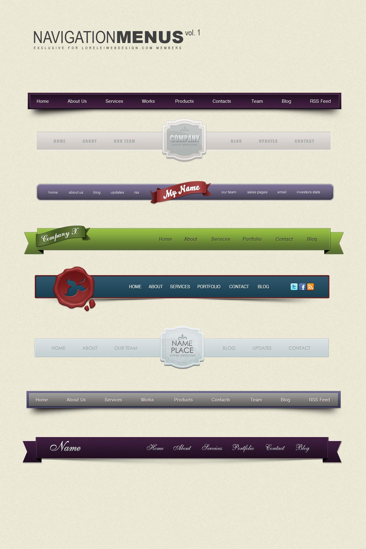 Premium Download: Navigation Menus Design - Volume 1 - Premium Downloads Lorelei Web Design