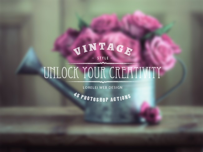 "Download A Super Bundle of 45 Vintage Actions ""Unlock Your Creativity"" - Photoshop Actions Lorelei Web Design"