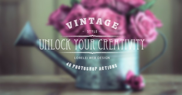 "Download A Super Bundle of 45 Vintage Actions ""Unlock Your Creativity"""