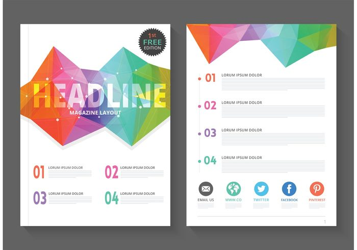 free-geometric-magazine-layout-vector