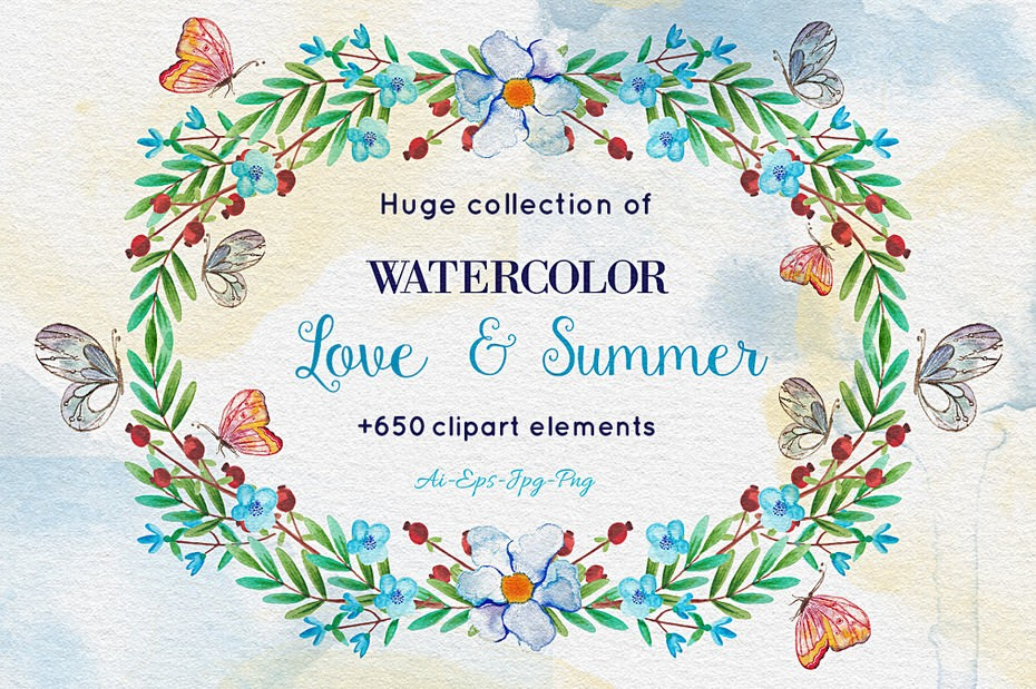 Download Over 650 Amazing Watercolor Elements - Photoshop Resources Lorelei Web Design