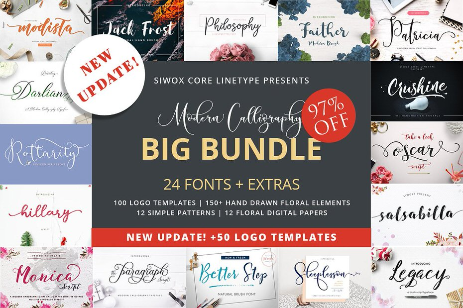 Download Calligraphy Font Bundle - 97% OFF Regular Price - Featured Lorelei Web Design