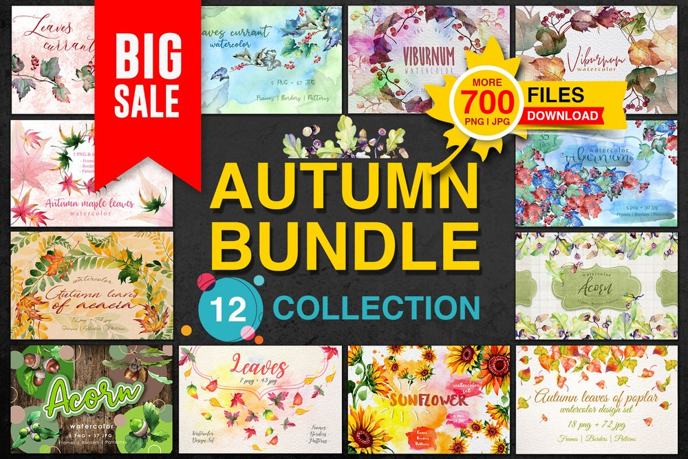 Big Autumn Bundle, 12 Collections, 700 Files - Only $12 - Blog Lorelei Web Design