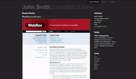 Sharpfolio in 100 Excellent Free WordPress Themes