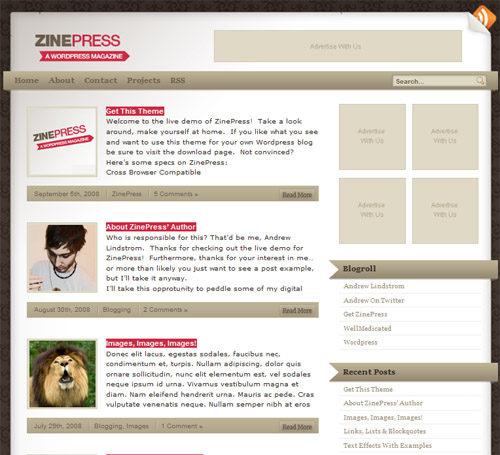 Zinepress-theme in 40 Free High-Quality WordPress Themes